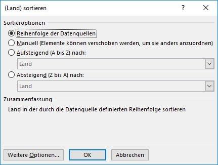Erweiterte Sortieroptionen Excel