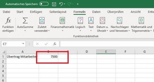 Excel Daten Übertrag