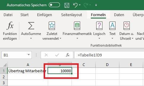 Excel Ziel-Tabelle Neuer Wert