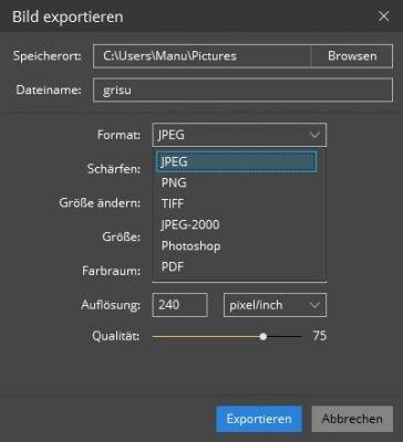 Luminar unterstützte Dateiformate