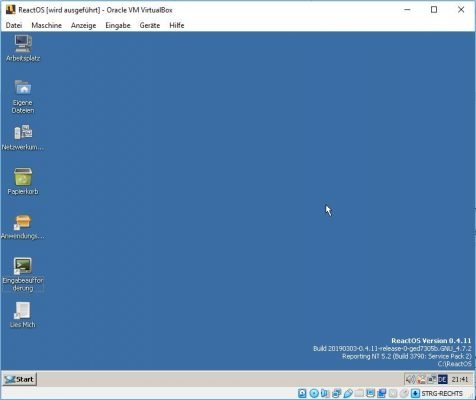 ReactOS Desktop Ansicht