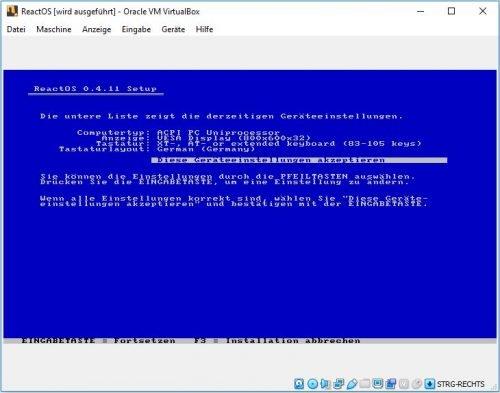 ReactOS Installation Geräteeinstellungen