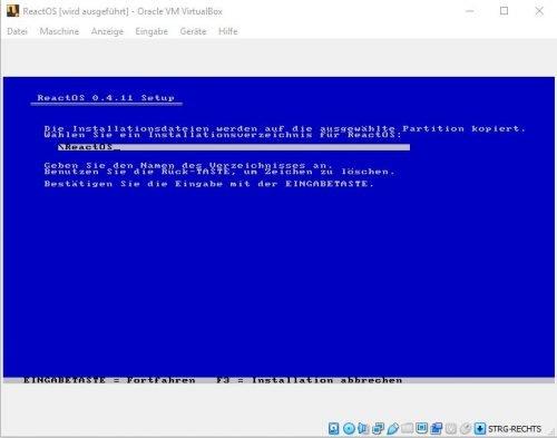 ReactOS Installation Verzeichnis