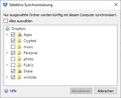 Selektive Synchronisierung in Dropbox ermöglicht, bestimmte Ordner vom der Synchronisierung auszunehmen