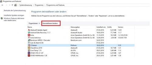 Windows 10 Systemsteuerung Programme deinstallieren