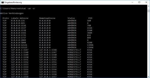 Netstat Prozess IDs