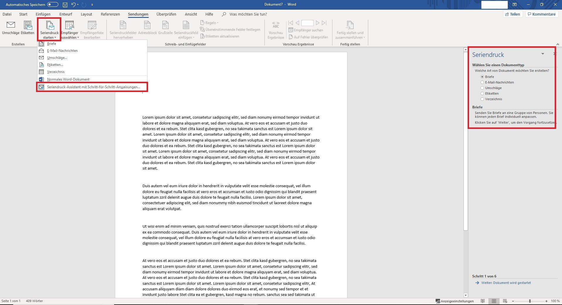 Die Dokumentenvorlage Und Der Seriendruck Unter Word