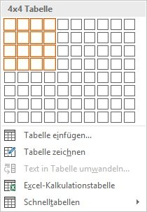 Microsoft Word Tabelle erstellen