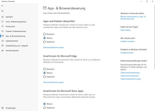 App und Browsersteuerung durch SmartScreen