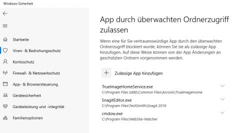 Apps durch überwachten Ordnerzugrif zulassen