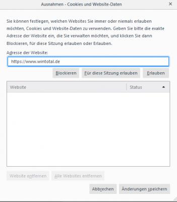 In Firefox können Sie Ausnahmen der Cookie-Verwaltung für einzelne Webseiten festlegen