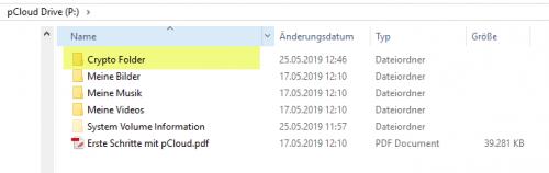 Crypto Folder auf pCloud Drive