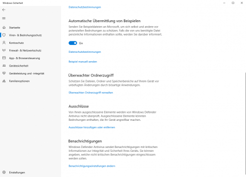 Einstellungen für Windows Defender
