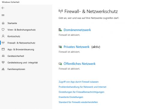 Firewall und Netzwerkschutz