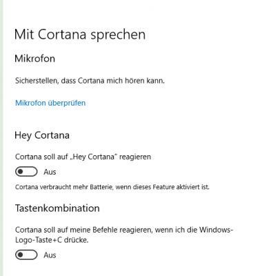 Hey Cortana abschalten