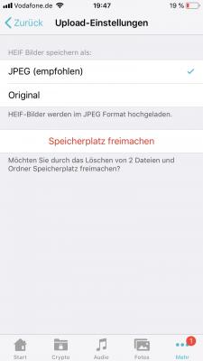 die App kann auch Fotos auf dem Gerät nach dem Upload löschen