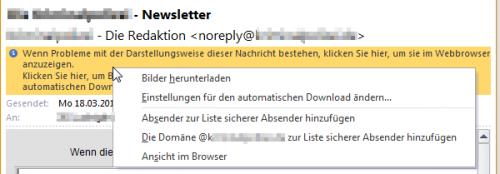 In Outlook Bilder anzeigen geht ganz einfach über die Infoleiste