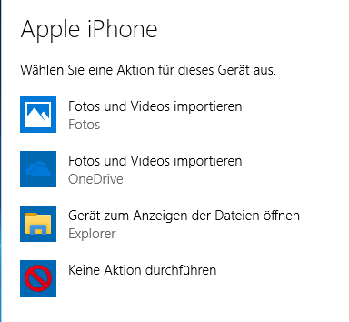 Vom iPhone Fotos in Windows 10 importieren
