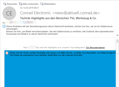 Mail ohne Bilder in Outlook