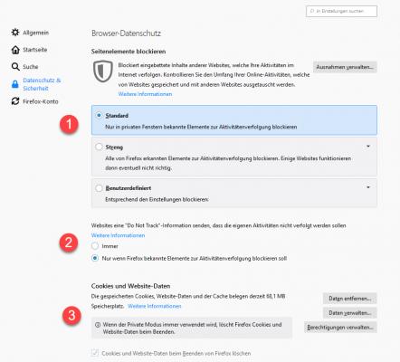 Die Datenschutzeinstellungen in Mozilla Firefox