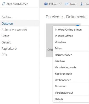 Office online in OneDrive
