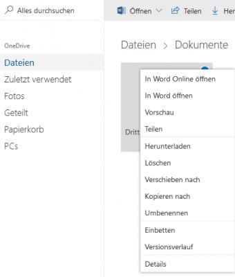 Office online in OneDrive