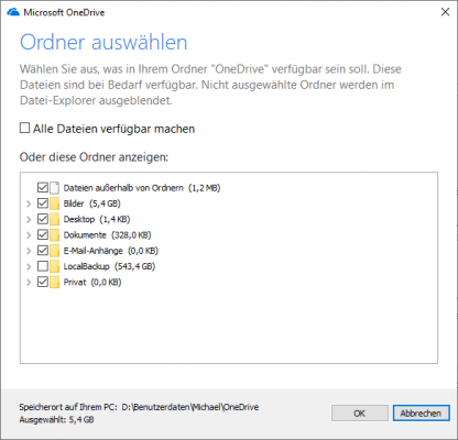 OneDrive selektive Synchronisierung