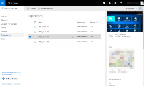 Papierkorb in OneDrive