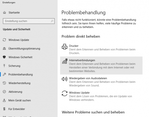 Problembehandlung in Windows 10