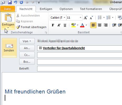 Sammelmail an den E-Mail-Verteiler