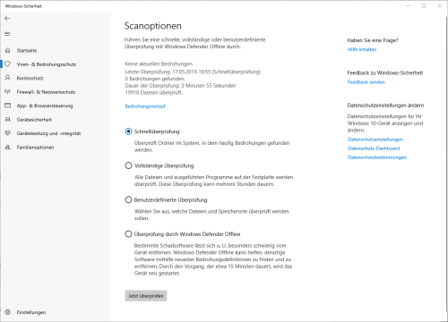 Scanoptionen von Windows-Defender