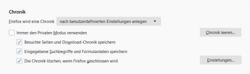Verlauf in Firefox löschen