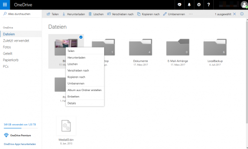 Webseite OneDrive