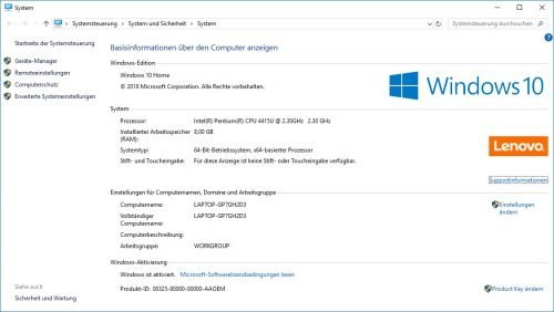 Windows 10 Systemsteuerung Basisinformationen