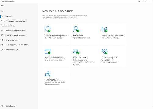 Windows-Sicherheit auf einen Blick
