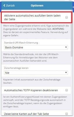 Bitwarden automatisches Befüllen beim Seitenaufruf