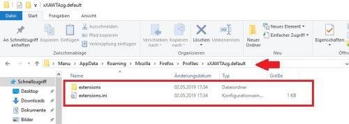Firefox Profil importieren nicht vorhanden