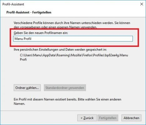 Benutzerprofil kann nicht geladen werden Neues Profil