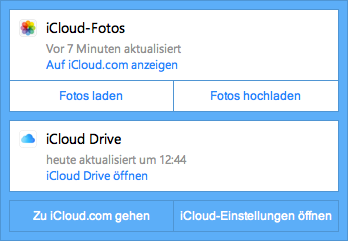 iCloud im Systemtray