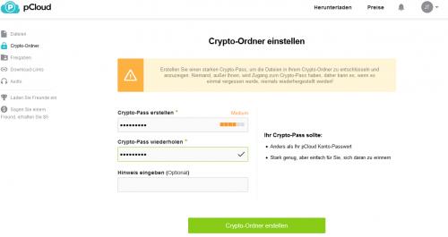 Den Crypto-Ordner können Sie über die Webseite oder die Clients erstellen