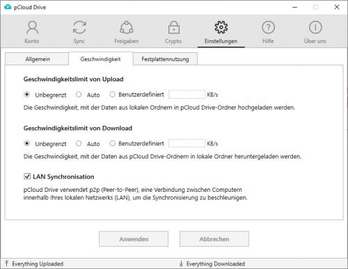 pcloud Drive bietet auch Einstellungen zur Nutzung der Bandbreite