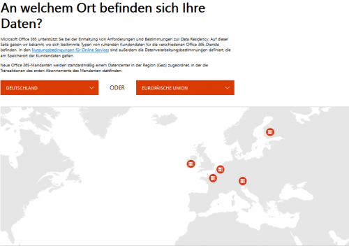 Serverstandorte in OneDrive