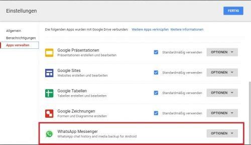 WhatsApp Google Drive Speicherplatz exportierte Daten
