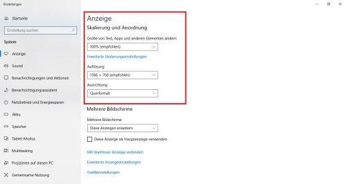 Windows 10 Anzeige Skalierung Anordnung einstellen
