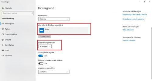Windows 10 Anzeige Hintergrund einstellen
