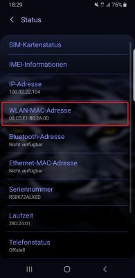 WLAN-MAC Android Handy