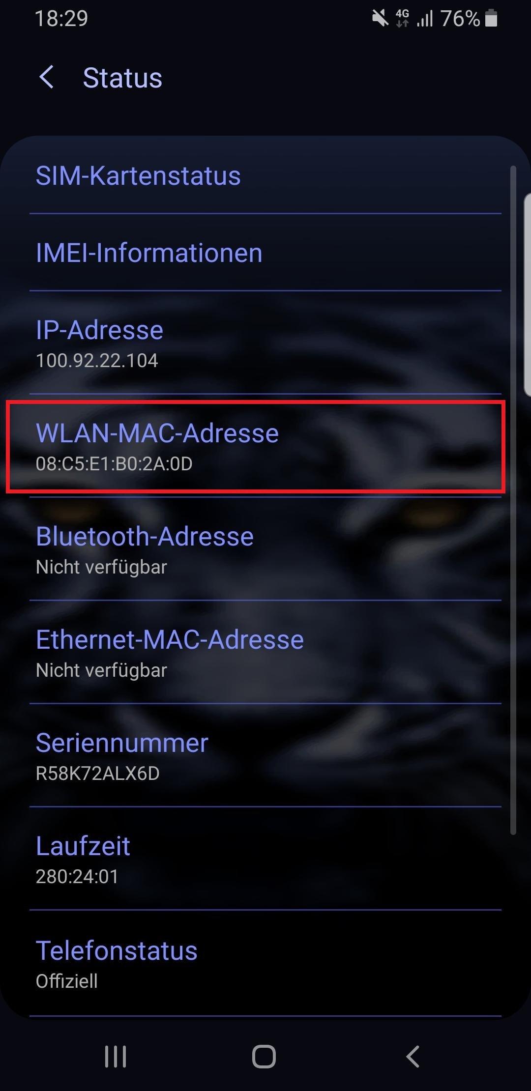handy orten mac adresse