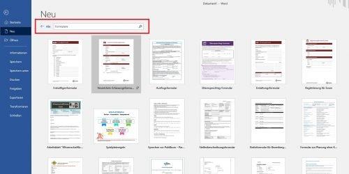Word Format Vorlage auswählen