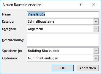 Word Textbaustein Dialogfenster