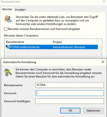 windows 10 ohne passwort starten